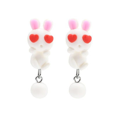 Kawaii Clay Rabbit Earrings