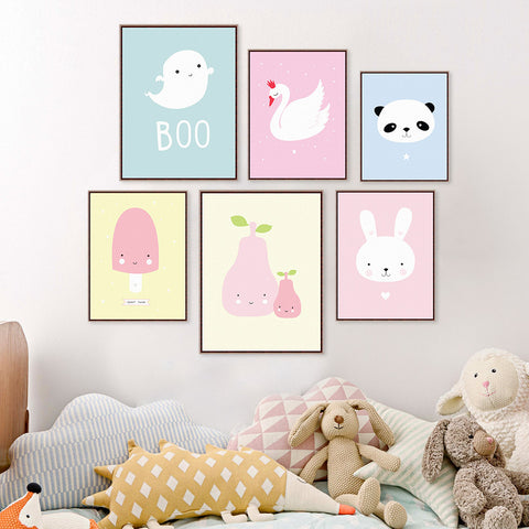 Kawaii Nursery Wall Art Prints  - popsicle, pear, panda, cloud, cat, bat, swan, ghost