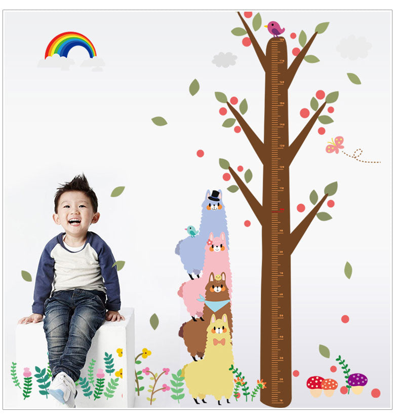 Kawaii Alpaca Kids Height Chart Wall Sticker
