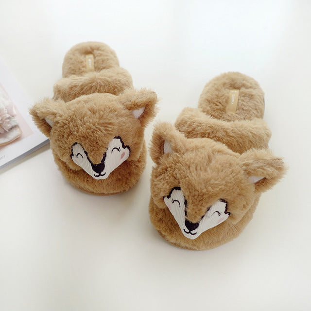 Fox Plush Slippers