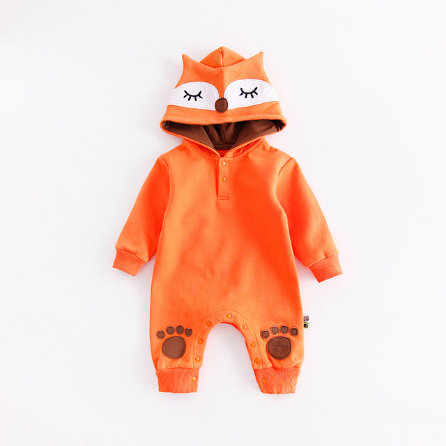 Cute Animal Hooded Baby Romper Suits - fox, kitty or bear