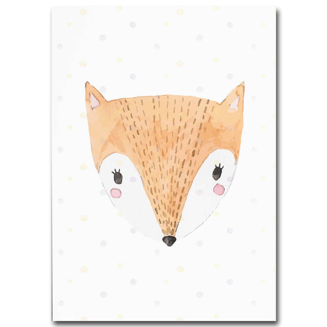 Watercolor Cute Nordic Animal Wall Art Prints - rabbit, cat, fox, panda