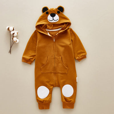 Warm Baby Cute Bear Hooded Romper Suit