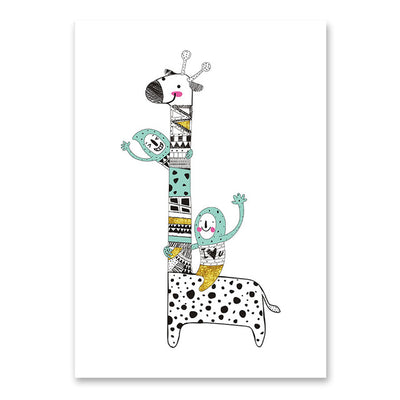 Cute Patchwork Animal Wall Art Prints - Giraffe, Rabbit & Eggs