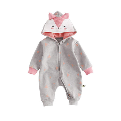 Cute Hooded Cartoon Fox Baby Romper Suit