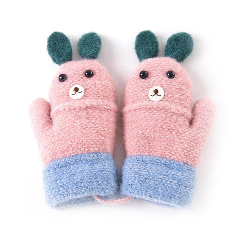 Cute Bunny Rabbit Kids Mitten Gloves