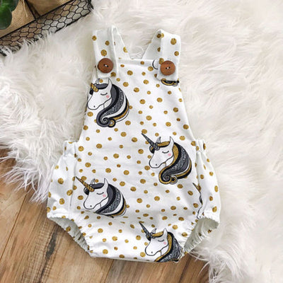 Cute Unicorn Polka Dot Sleeveless Romper/Sunsuit