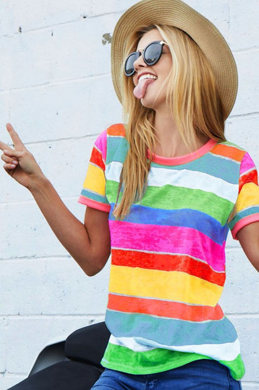 Pop of Color Striped Top