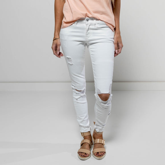 White Destroyed Denim