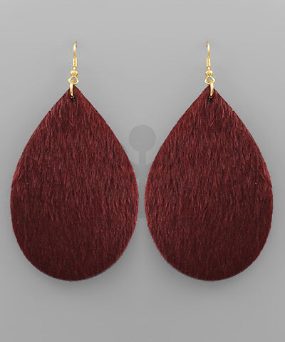 Patterson Cowhide Teardrop Earrings