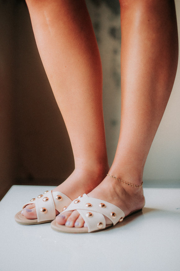Rollasole Cream Stud Sandals