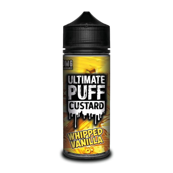 Ultimate Puff Custard – Whipped Vanilla  Classic vanilla custard whipped to perfection to form a fresh milky vape full of flavour.