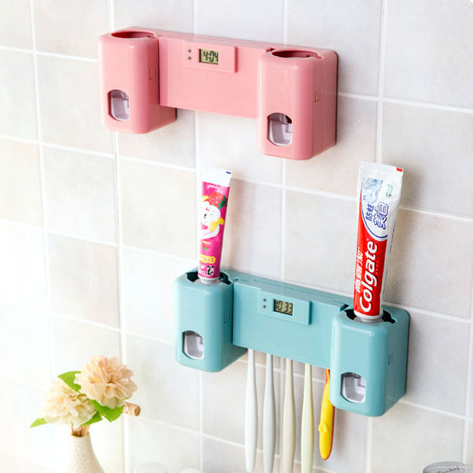 ToothEZ™ Automatic Toothpaste Dispenser with Clock - Hey Trending