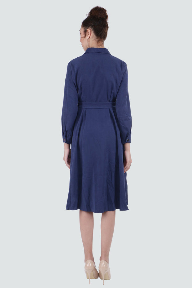 PAMILANO Long Sleeve Collared Dress - Blue - PAMILANO