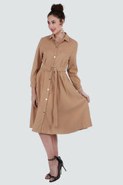 PAMILANO Long Sleeve Collared Dress - Beige - PAMILANO