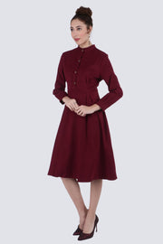 PAMILANO Long Sleeve Collared Dress - Wine - PAMILANO