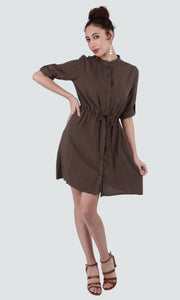 PAMILANO Long Sleeve Dress - Coffee Green - PAMILANO