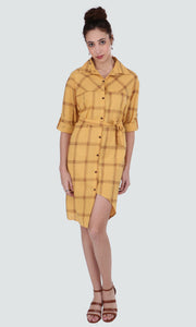 PAMILANO Checked Midi Dress - Yellow - PAMILANO