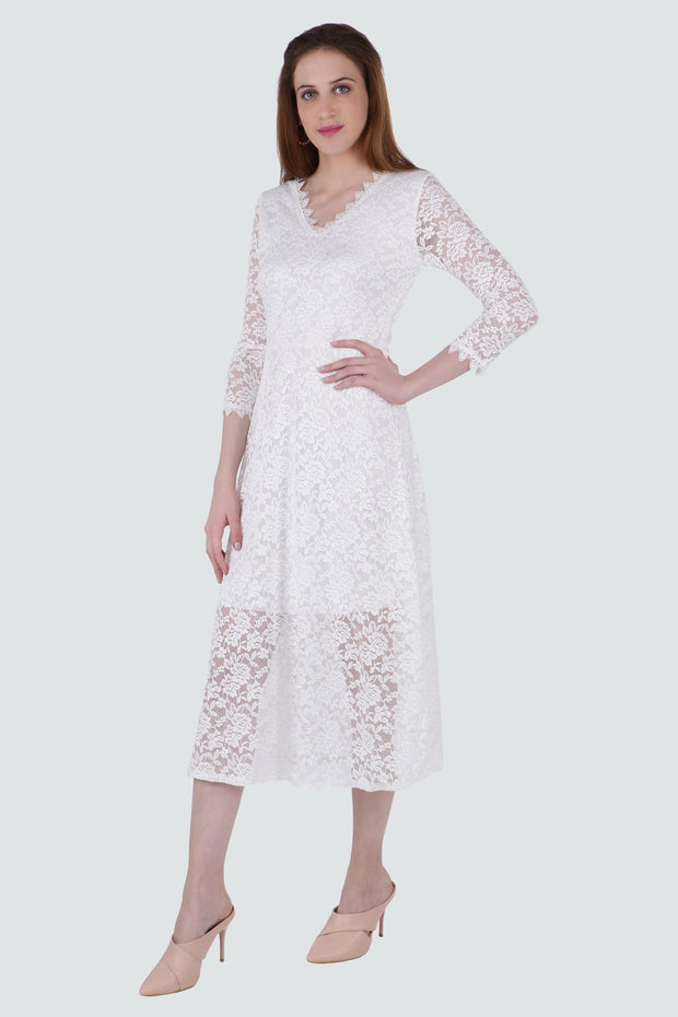 PAMILANO MidiDress with Lace - White - PAMILANO
