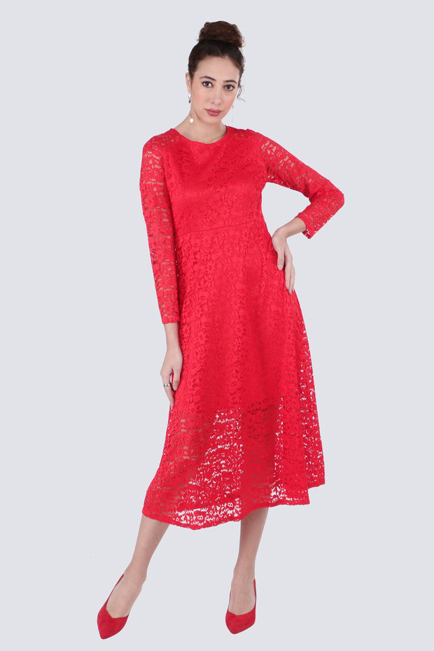 PAMILANO Midi Dress with Lace - Red - PAMILANO