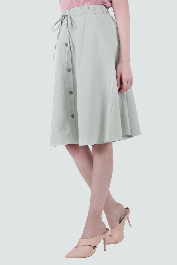 PAMILANO Button Up Cotton Skirt - Light Green - PAMILANO