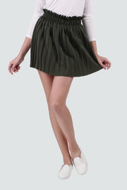 PAMILANO Pleated Short Skirt in Velvet - Green - PAMILANO