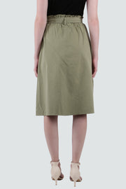 PAMILANO Button Up Cotton Skirt - Green - PAMILANO
