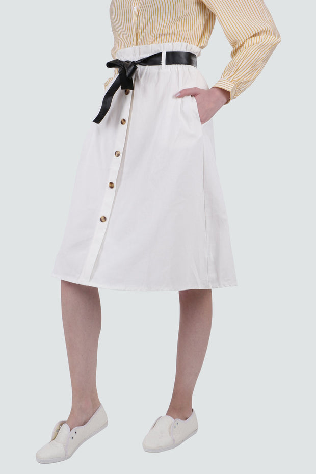PAMILANO Button Up Belt Skirt - White - PAMILANO