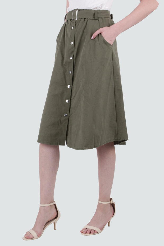 PAMILANO Button Up Cotton Skirt - Dark Green - PAMILANO