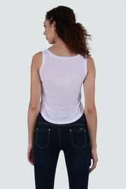 PAMILANO Crop Length Echo Box Print T-shirt - White - PAMILANO