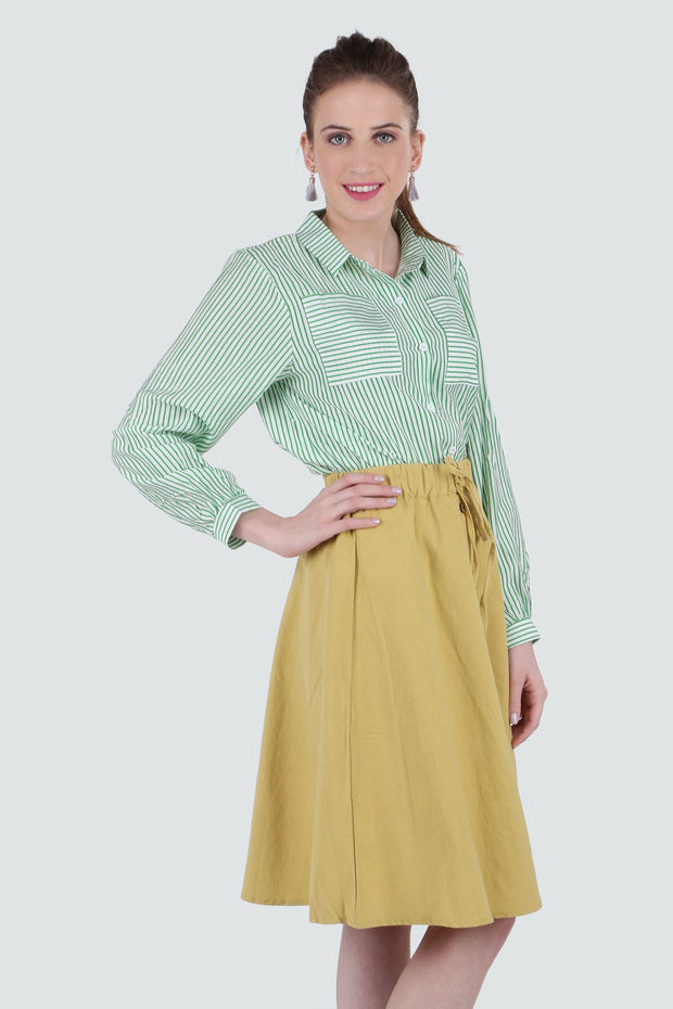 PAMILANO Striped Shirt - Green - PAMILANO
