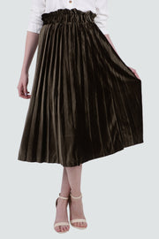 PAMILANO Pleated Skirt in Velvet -GREEN - PAMILANO