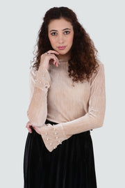 PAMILANO Velvet Bell Sleeves Top - Beige - PAMILANO