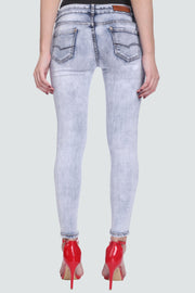 PAMILANO Mid Rise Two Button Skinny Jeans - Ice Blue - PAMILANO