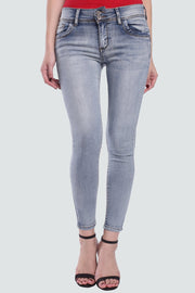PAMILANO Mid Rise Two Button Skinny Jeans - Light Blue - PAMILANO