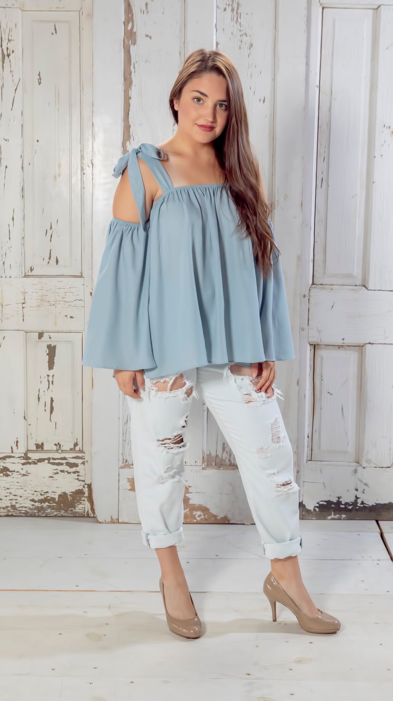 Blue Tie Shoulder Blouse