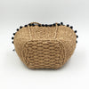 Black Pompom Straw Bag