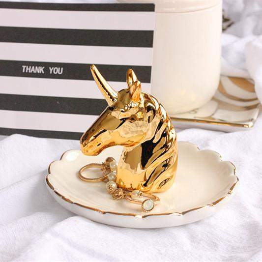 Gold Unicorn Jewellery Dish-SpringNoir
