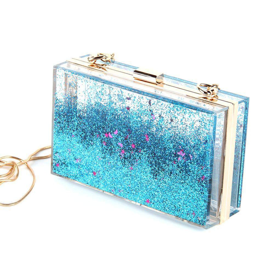 Liquid Glitter Clutch Bag-SpringNoir
