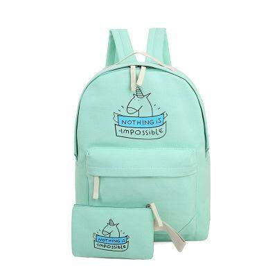 """Nothing is impossible"" Unicorn Backpack Set-SpringNoir"