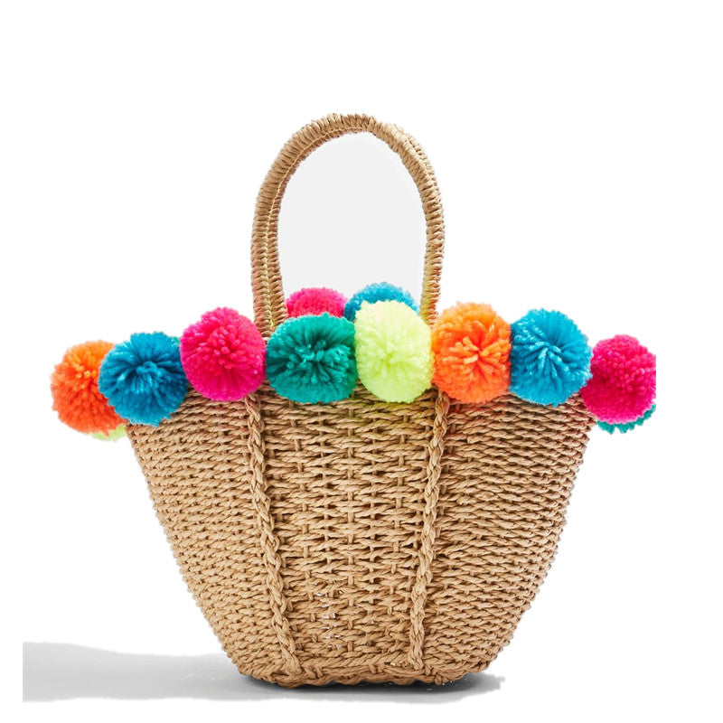 Colourful PomStraw Bag