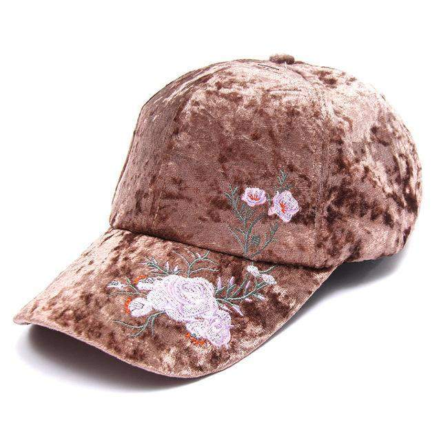 Velvet Embroidered Cap-SpringNoir