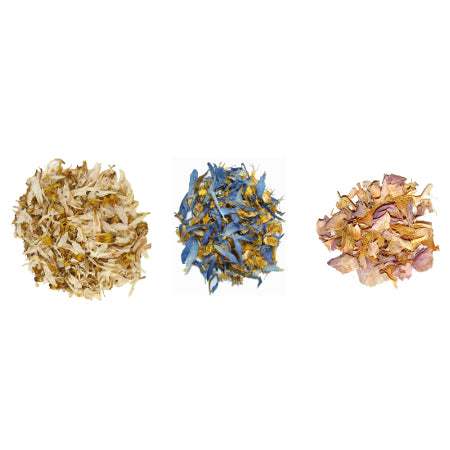 Triple Lotus Mix (Assorted Sizes) A blend of shredded Blue, Pink & White Lotus flowers
