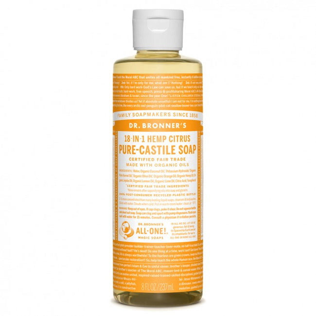 Hemp Liquid Soap (Citrus) Dr. Bronners Organic Pure-Castile Liquid Soap - 8 oz