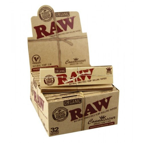 RAW Kingsize Slim CONNOISSEUR Organic Hemp Rolling Papers w/Tips