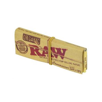 RAW 1 1/4 size CONNOISSEUR Organic Hemp Rolling Papers w/Tips