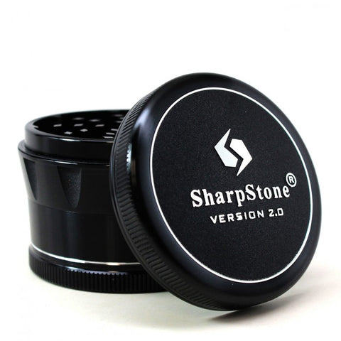 "SharpStone® Clear Top 2 Piece Herb Grinder - 2.2"" Black"