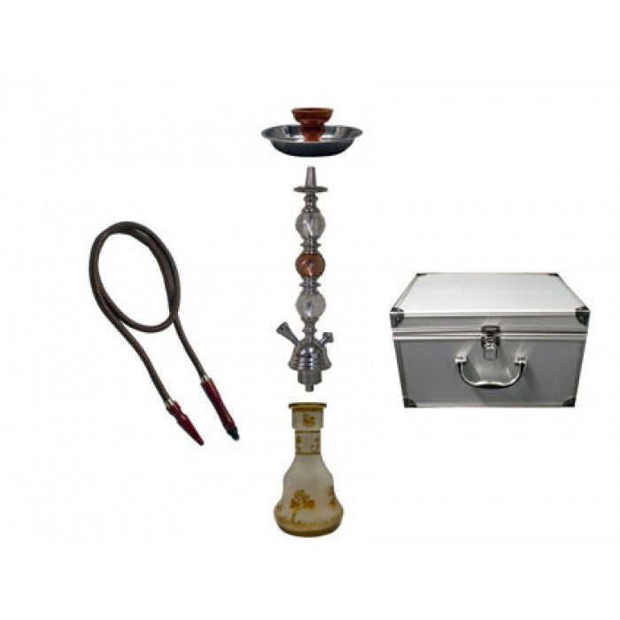 Water-Pipe - Classic Hookah Pipe - with 1 Hose + Aluminum Case (approx 620mm)