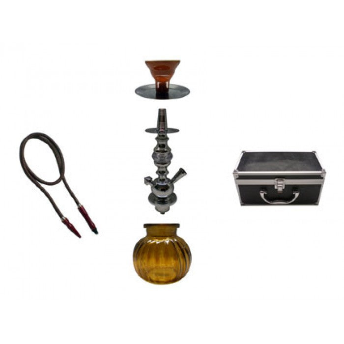Water-Pipe - Hookah Pipe - with 1 Hose + Aluminum Case (approx 330mm)