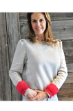 Season Tree Grijze sweater met rode galons